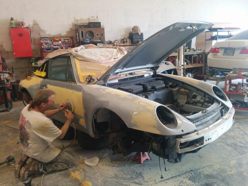 Porsche Auto Body Being Sanded B B Auto Body - Porsche collision repair