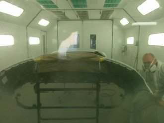 Auto Paint Spray Booth in use at B & B Auto Body